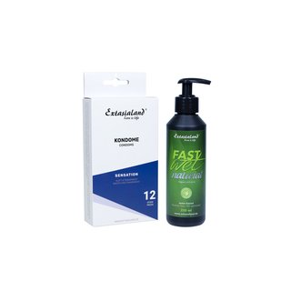 12 Kondome inkl. Fastwet Natural 250ml veganes Bio Gleitgel